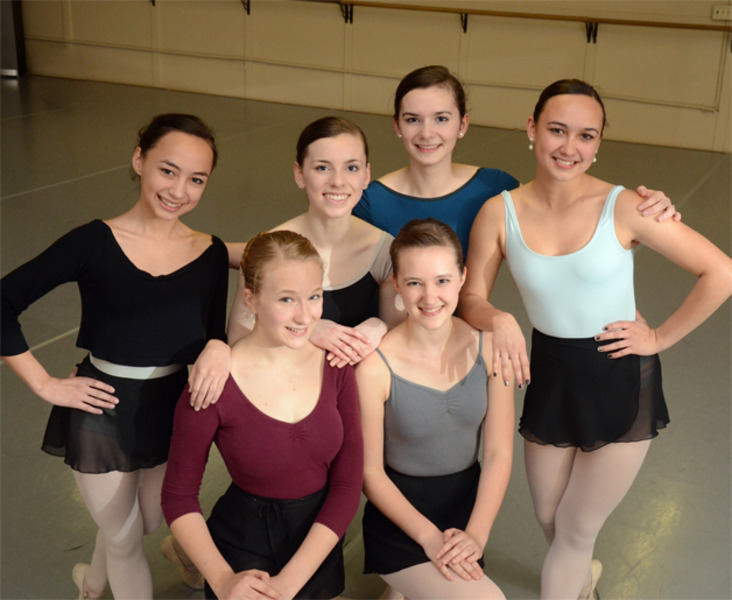 an image of a group of six ballet dancers posing on the dance floor